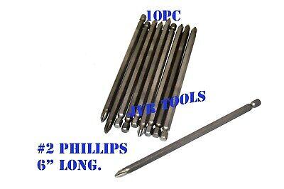 10pc POWER BIT SET S-2 STEEL BIT # 2 Phillips Head 6