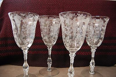 4 Cambridge Rose Point Crystal 10 oz Water Goblets ~3121~ Stem Stemware