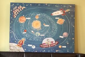 """Large Canvas Painting """"Solar System"""" Art."""