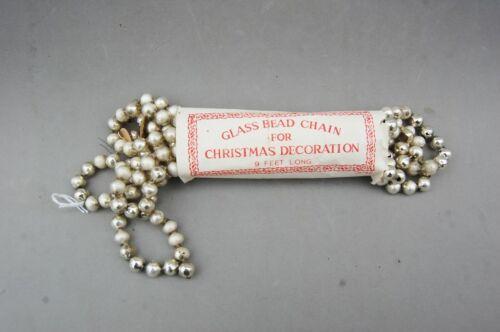 "Mercury Glass Bead Chain Christmas Decoration Vintage 9 ft/ 60"" Silver Japan"