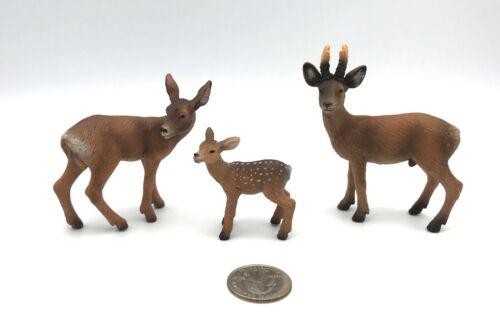 Schleich ROE DEER FAMILY 14381 14380 14379 Animal Figures 2007 Retired Rare!