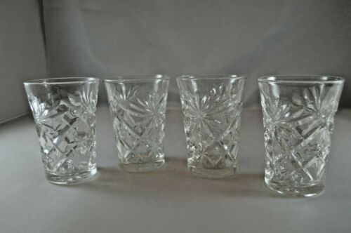 Vintage Set of 4 CRYSTAL OATS Oatmeal Juice Glasses Pineapple Pattern