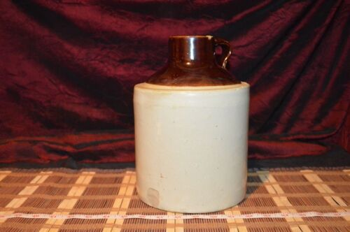 """Vintage Pottery 1 Gallon Two Tone Clay Jug, Wide Mouth, 10 1/8""""x7 3/8"""""""