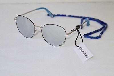New $295 Elizabeth And James Gilmore Womens Round Sunglasses w/ Stone Strap