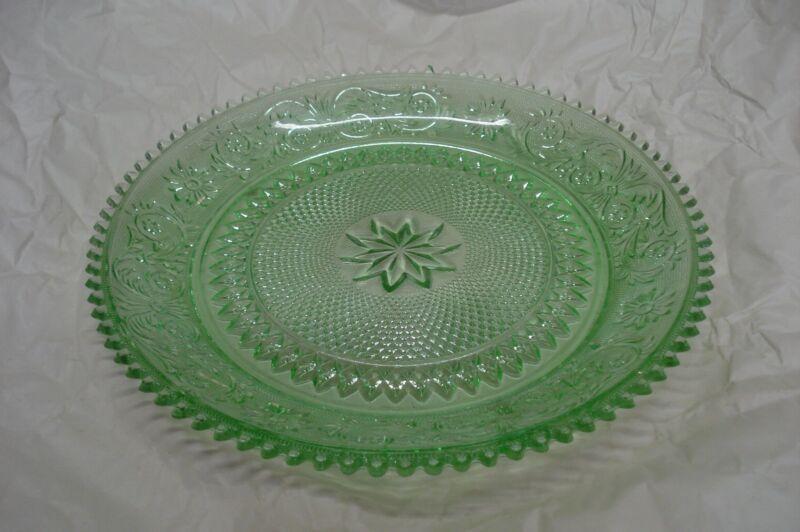 Vintage Tiara Indiana Glass Green Chantilly Sandwich Serving Platter Plate