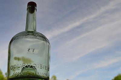 Courvoisier Vs Cognac - Antique Green Glass Embossed Courvoisier Cognac V.S. Large French Bottle - Rare!
