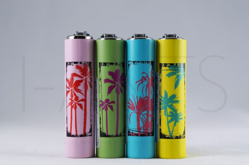 4x Clipper Refillable Mini Size Lighters With Metallic Removable Covers