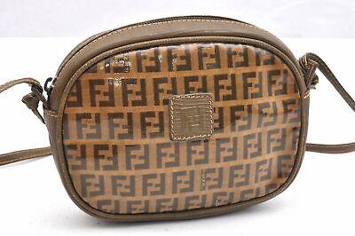 Authentic FENDI Zucchino Shoulder Bag PVC Leather Brown 95246