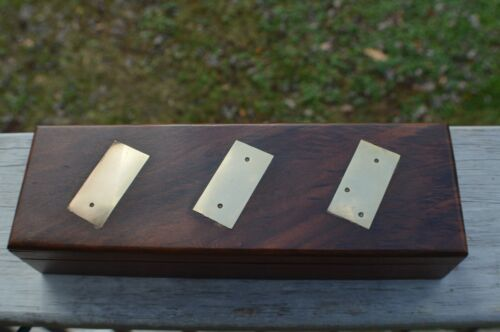 Beautiful Wood and Brass Inlay Dominoes with Rosewood Box