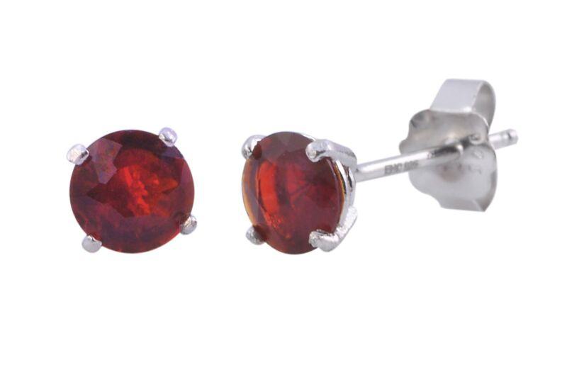 Round Garnet Earrings CZ January Birthstone Sterling Silver Studs BASKET Zircon