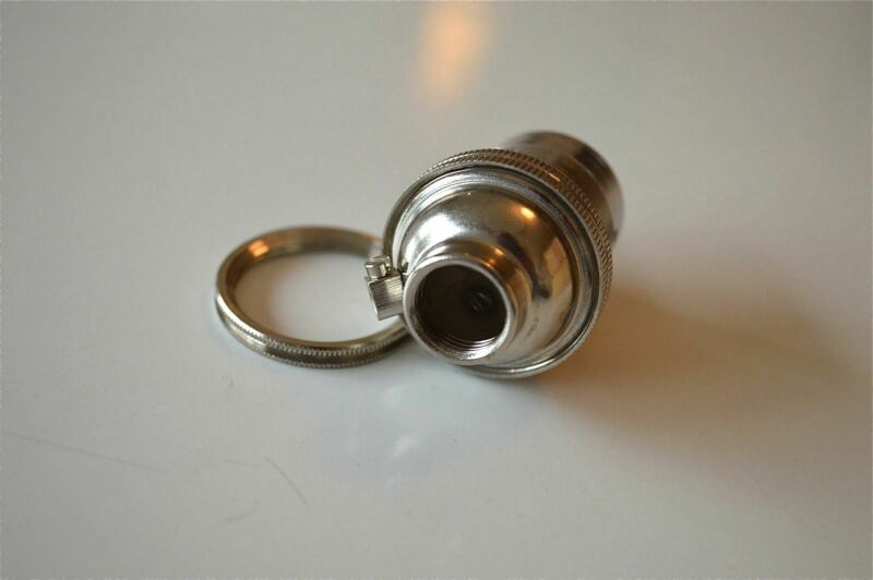 10 NICKEL BAYONET FITTING BULB HOLDER LAMP HOLDER EARTHED SHADE RING 1/2 INCH L4
