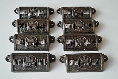 8 vintage cast iron Royal Mail GPO drawer pull handles chest post office GPO