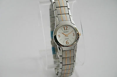 SEIKO SUJ279 LADIES VIVACE COLLECTION WHITE DIAL TWO-TONE STAINLESS STEEL WATCH