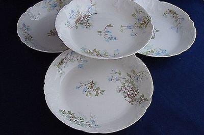 GDA Limoges Blue Floral Berry Bowls Side Dishes Set of Four Vintage China France