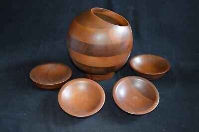 VTG Hellerware Teak Wood Nut Server & 4 Bowls Mid Century Modern Taiwan Candy