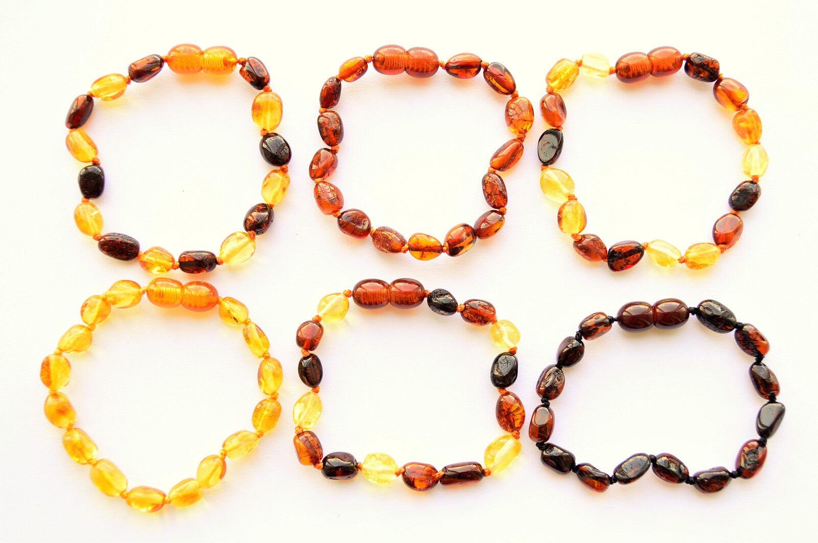 Natürlich Bernstein Armband Baby/Kinder/Erwachsene 11-27cm OVAL Beads 9 FARBE