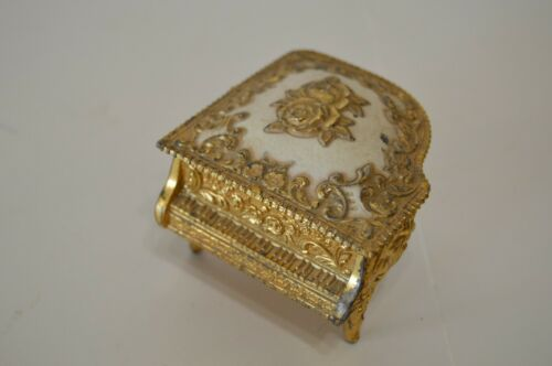 Vintage Piano Jewelry Box Metal Stamped Japan Velvet Interior Collectible