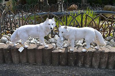 SAMMLER FIGUR weisser WOLF und Mutter mit Kind 2er Set SKULPTUR TIER NEU