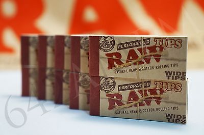 25 PACKS OF AUTHENTIC RAW ROLLING PAPER WIDE TIPS FILTER  (50 Sheets per pk)
