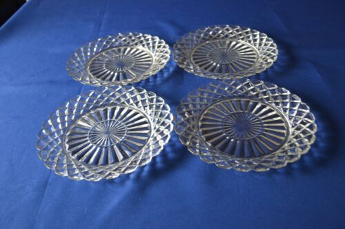 4 Anchor Hocking Waterford Waffle Salad Plates 7 1/8""