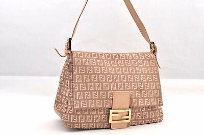 Auth FENDI Zucchino Mamma Baguette Shoulder Bag Canvas Leather Pink 93968