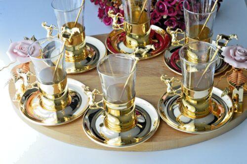 Horse Tea set 6 Cups & Saucers + Horse Tea Spoons 6 Spoons