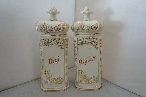 """Antique Pair of French Apothecary Jars, Painted Porcelain, Gold, Red, White 12"""""""