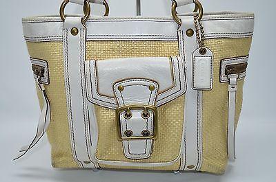 Coach Legacy Stroh und Weiß Lederrand Große Taschen Einkaufstasche - Stroh Und Leder Tasche