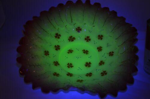 Victorian Vaseline Peachblow Enameled Glass Brides Bowl Basket