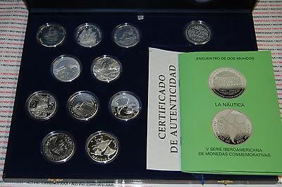 Serie 5 Ibero-American v 2003 Nautica 10 Silber Münzen + 1 medal very rare gebraucht kaufen  Versand nach Germany