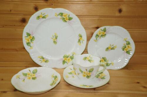 Shelley Primrose 5-Pcs-Salad Plate-Bread & Butter Plate-Fruit Bowl-Cup & Saucer