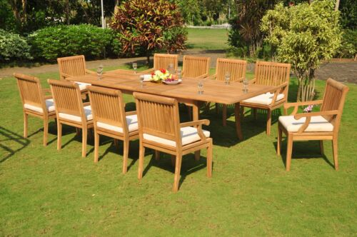 "13-piece Outdoor Teak Dining Set: 117"" Rectangle Extn Table, 12 Arm Chairs Sack"