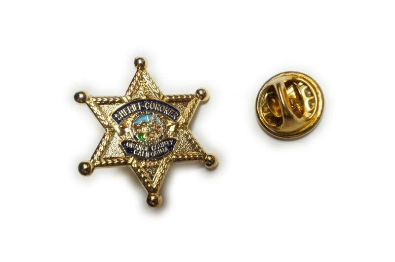 Sheriff Coroner Orange County CA Mini Badge Suit Hat Jacket Tie Tack Lapel Pin