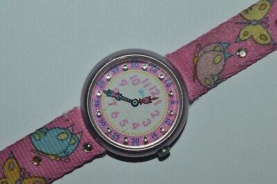 2001 Vintage Flik Flak Watch Butterflies Pink Strap Swiss Quartz Children Alumin