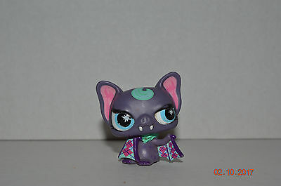 Littlest Pet Shop~#No~Mod Vampire Bat~Purple Pink W/Cape~Blue Starburst Eyes