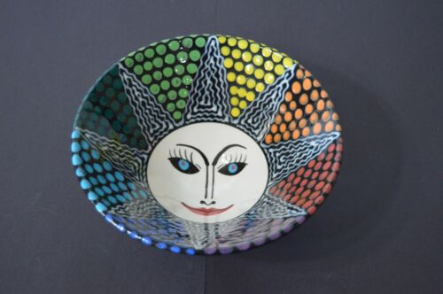 Rainbow Smiling Sun Pride Sunshine Dotted Stripped Bowl Home Decor Pottery Art