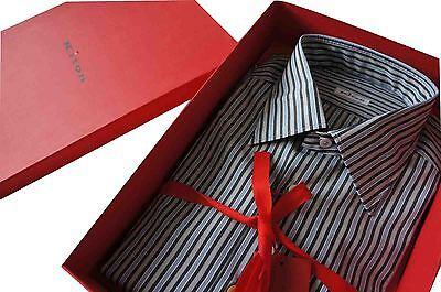 "Kiton Formal Multi-Grey & Blue Stripe  SZ: 43 Collar 17"" BNWB"
