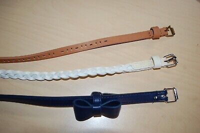 Girls 3 BELTS Tan w/ Cut Out NAVY BLUE BOW Braided White Sparkle S/M 22-27 Waist