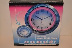 Neon Wall Quartz Wall Clock w/ Color Blue & Pink Changing Function -New