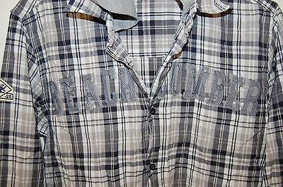 Surchemise à carreaux bleu jean patch brodé devant casual 36/38 chemise capuche