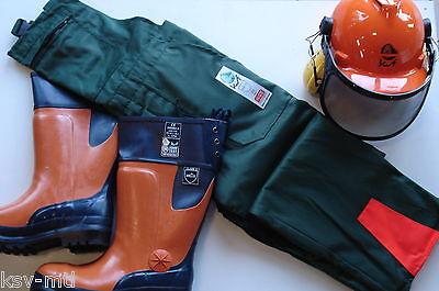 """KWF Schnitschutz Set Hose Schnittschutzstiefel S2 Stiefel Helm """"Peltor"""" 3in1 TOP"""