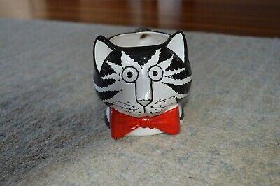 Vintage Kliban Ceramic Cat Coffee Mug Sigma Taste Setter 3-D Red Bow Cup 1970s