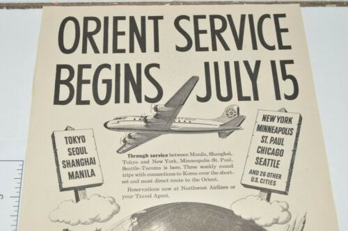 Northwest Orient Airlines Vintage Print Ad 1947 Coast To Coast Service Begins