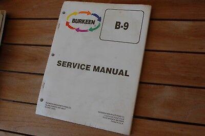 Burkeen B9 Walk Behind Trencher Service Manual Repair Shop Maintenance Book 1995