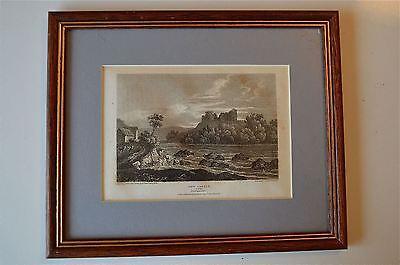 ORIGINAL ANTIQUE FRAMED PRINT NEW CASTLE CARDIGANSHIRE WALES CIRCA.1815 41
