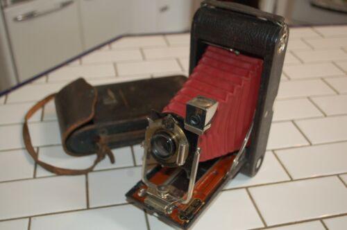 Vtg Kodak No. 3A Autographic Folding Camera Red Bellows Leather Case!!!