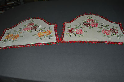 2 Above Of Chair Linen Embroidered Flowers