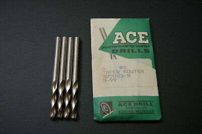 Ace Drill Bits 3 Taper Routers Lot Of 4