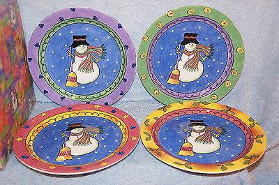 "Sango Sweet Shoppe Christmas (4) Salad Plates 8 1/4"" in Box"