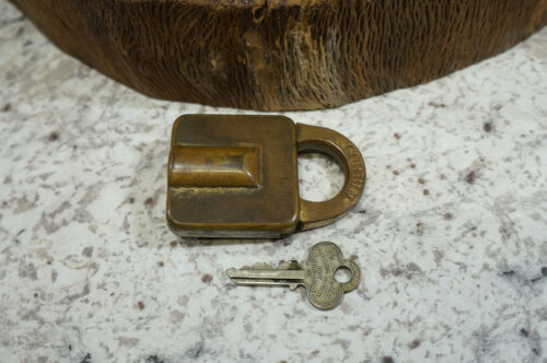 "Antique Working Brass Corbin Lock w/ Key 1892 Pat. Date - 2 1/2"" Long"